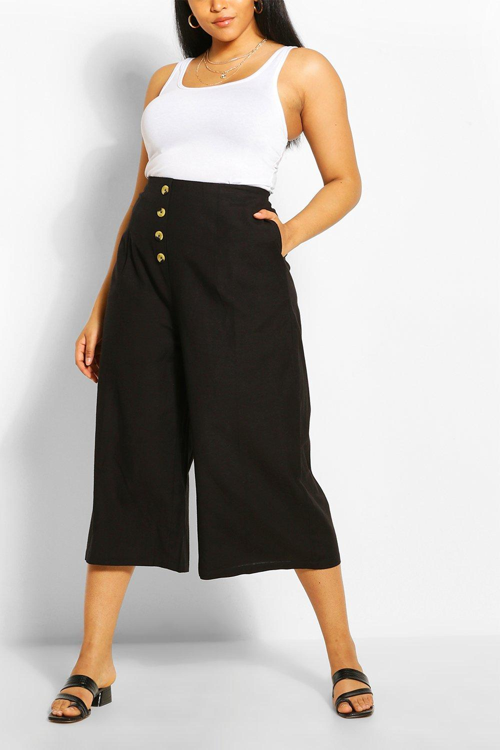 boohoo Plus Linnen Wide Leg Culotte, Black