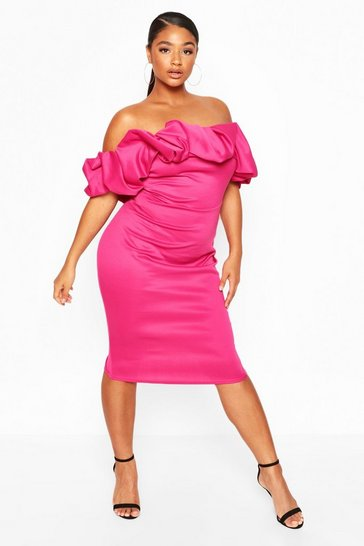 Hot pink Plus Scuba Rouched Bardot Midi Dress