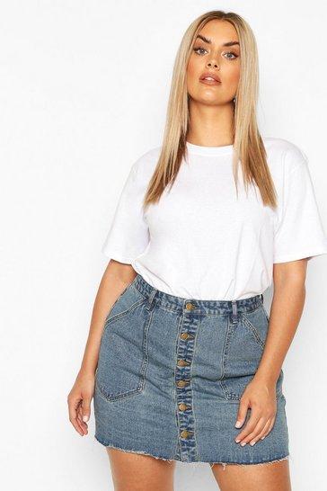 Vintage blue Plus Pocket Detail Vintage Look Denim Skirt