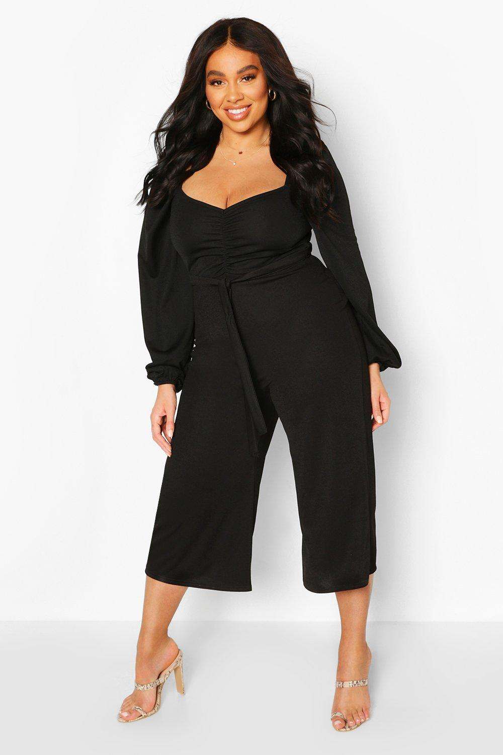 boohoo Womens Plus Puff Sleeve Belted Jumpsuit - Black - 20, Black