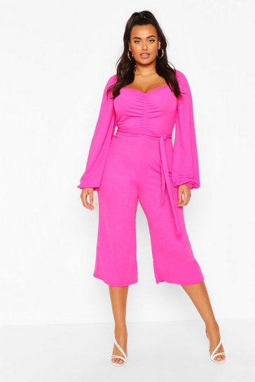 Hot pink Plus Puff Sleeve Belted Jumpsuit