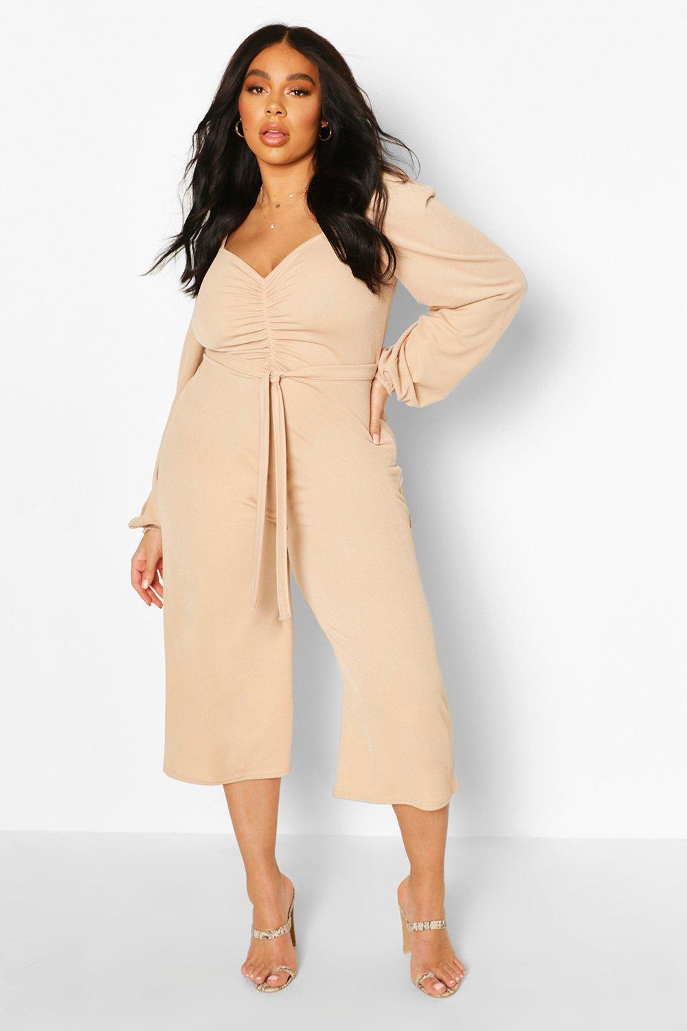 boohoo Womens Plus Puff Sleeve Belted Jumpsuit - Beige - 20, Beige