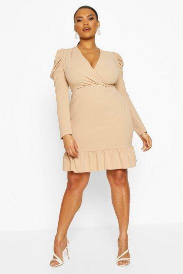 Stone Plus Crepe Volume Sleeve Ruffle Hem Mini Dress