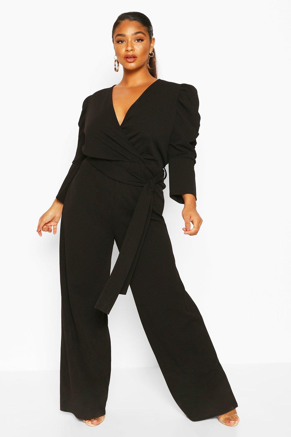 boohoo Womens Plus Ruched Puff Sleeve Wrap Belted Jumpsuit - Black - 28, Black