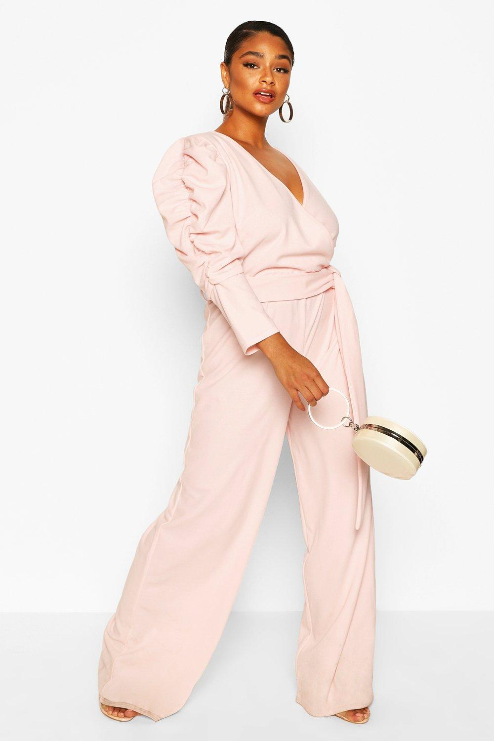 boohoo Womens Plus Ruched Puff Sleeve Wrap Belted Jumpsuit - Pink - 18, Pink