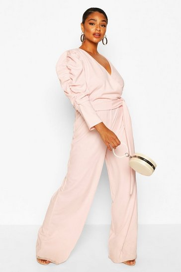 Blush Plus Ruched Puff Sleeve Wrap Belted Jumpsuit