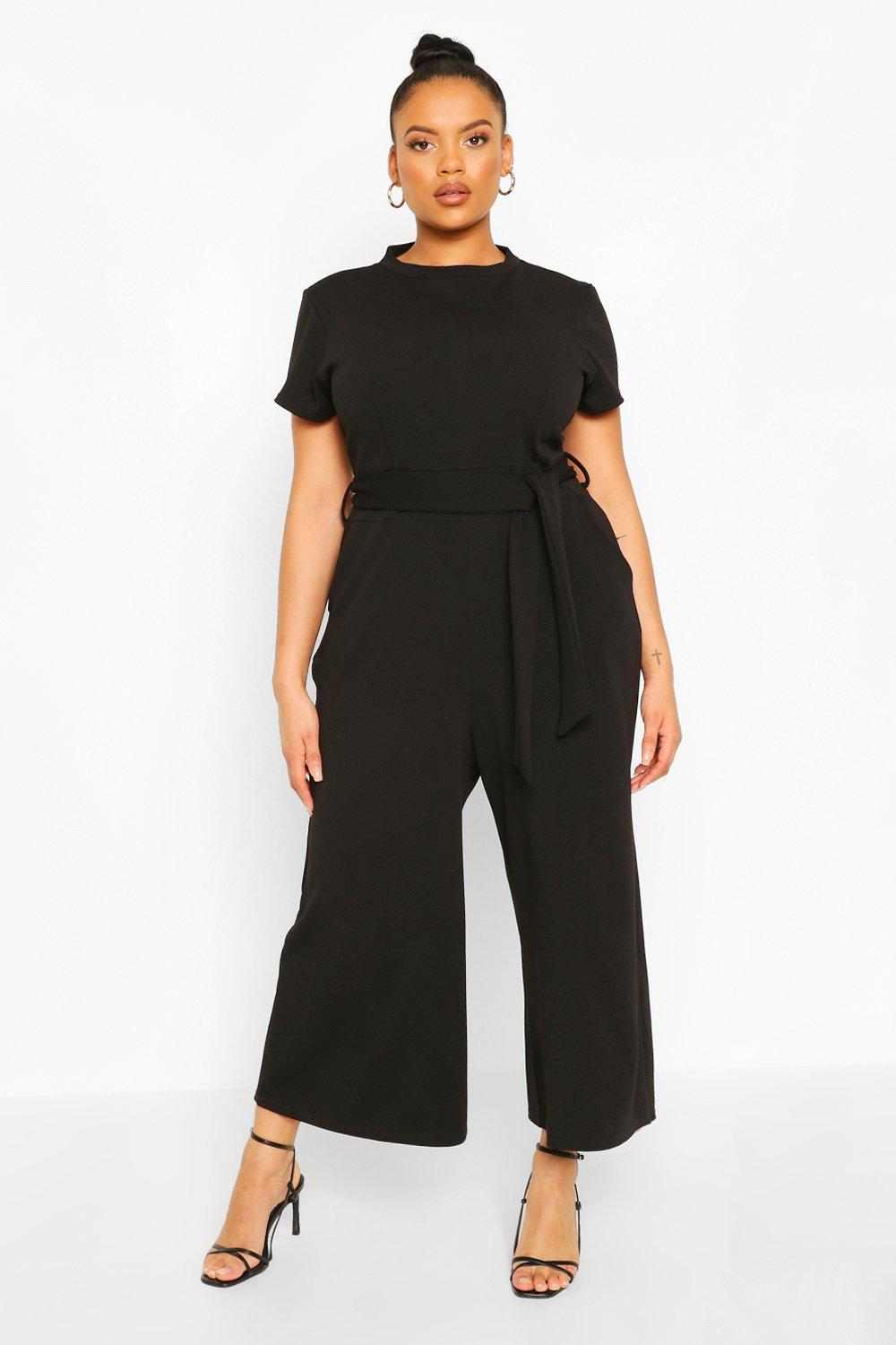 boohoo Womens Plus Tie Belt Culotte Jumpsuit - Black - 20, Black
