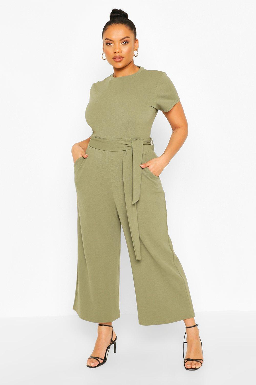 boohoo Womens Plus Tie Belt Culotte Jumpsuit - Green - 20, Green