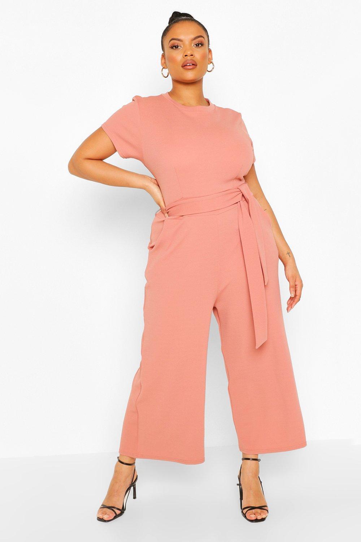 boohoo Womens Plus Tie Belt Culotte Jumpsuit - Pink - 18, Pink