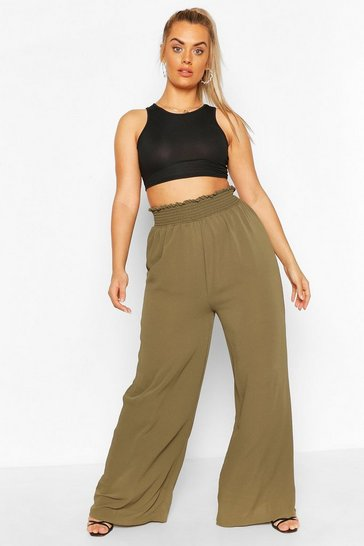 Khaki Plus Woven Shirred Waist Wide Leg Trouser