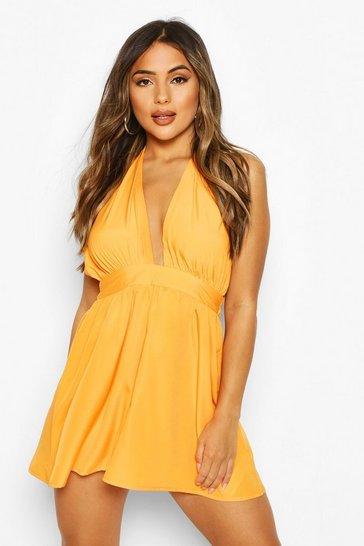 Burnt orange Petite Shell Trim Beach Dress
