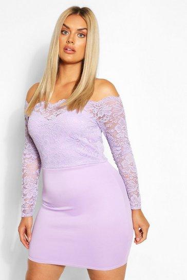 Lilac Plus Lace Bardot Mini Dress