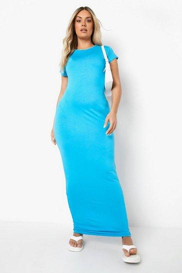 Turquoise Plus Cap Sleeve Maxi Dress