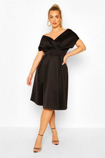 Black Plus Off The Shoulder Wrap Midi Dress