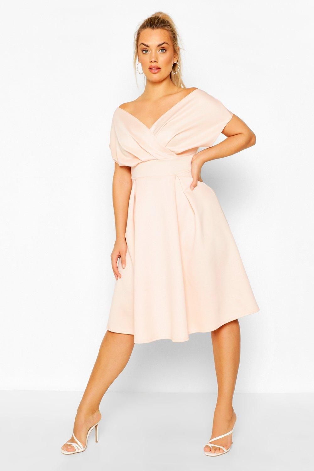 Womens Plus Off The Shoulder Wrap Midi Dress - Pink - 24