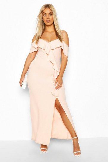 Blush Plus Ruffle Cold Shoulder Maxi Dress