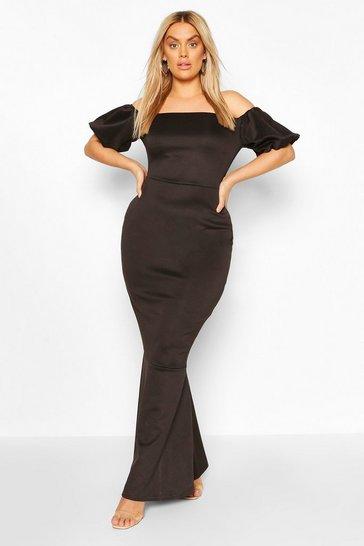 Black Plus Puff Sleeve Peplum Maxi Dress