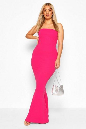 Magenta Plus Bandeau Fishtail Maxi Dress