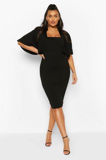 Black Plus Cape Sleeve Square Neck Midi Dress