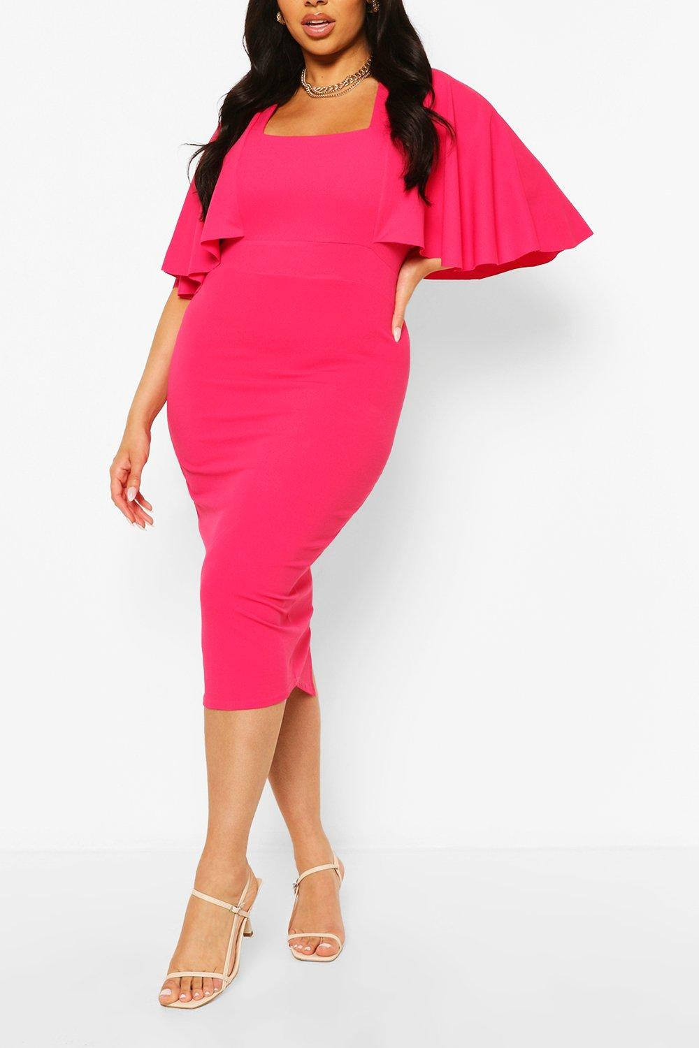 Womens Plus Cape Sleeve Square Neck Midi Dress - Pink - 16