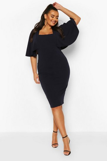 Navy Plus Cape Sleeve Square Neck Midi Dress