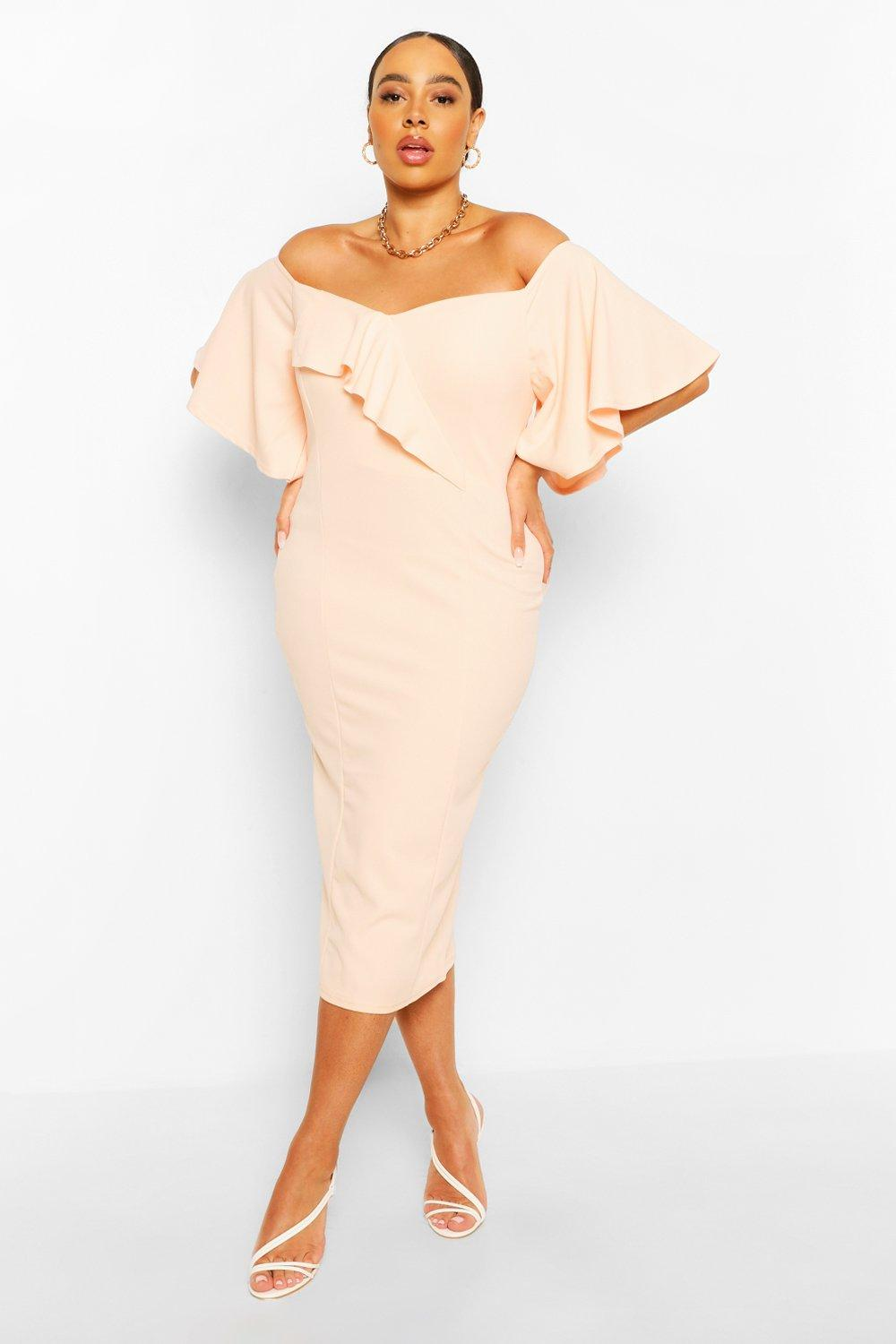 Womens Plus Off The Shoulder Cape Sleeve Midi Dress - Pink - 14