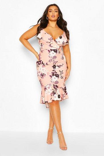 Blush Plus Floral Ruffle Fishtail Midi Dress