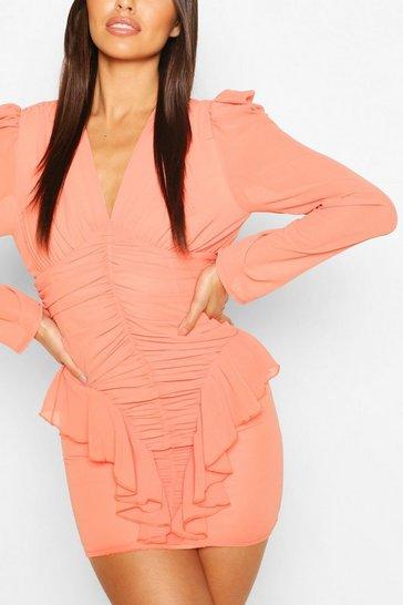 Coral Petite Ruched Frill Chiffon Dress