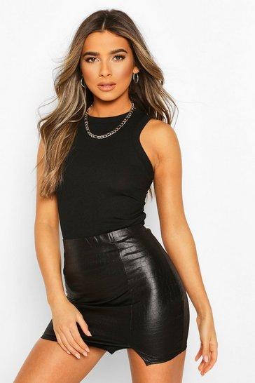Black Petite Leather Look Croc Effect Mini Skirt