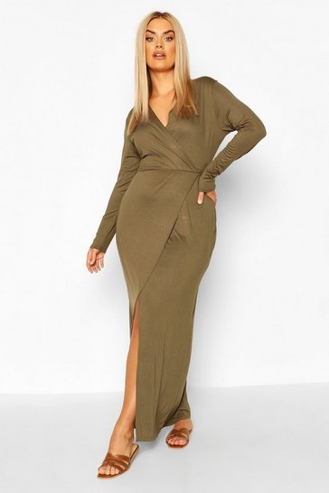 Khaki Plus Long Sleeve Wrap Maxi Dress