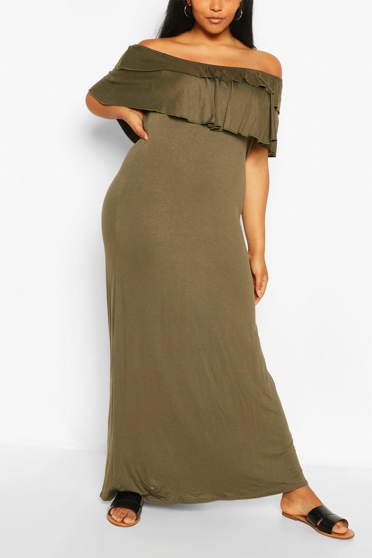 Boohoo Plus Off The Shoulder Ruffle Maxi Dress