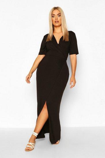 Black Plus Wrap Front Jersey Maxi Dress