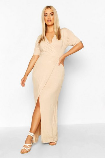 Stone Plus Wrap Front Jersey Maxi Dress