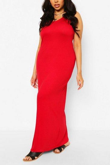 Red Plus Basic Scoop Neck Maxi Dress
