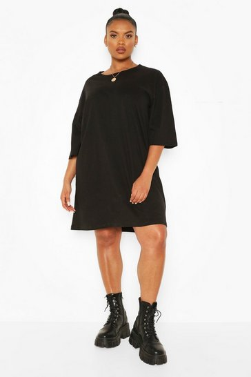 Black Plus Drop Armhole T-shirt Dress