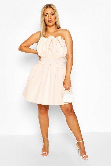 Blush Plus Structured Ruffle Skater Dress