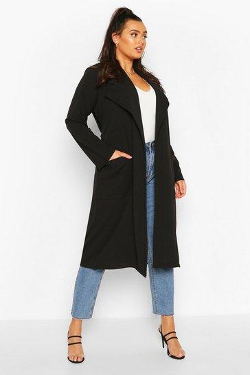 Black Plus Belted Waterfall Duster Coat