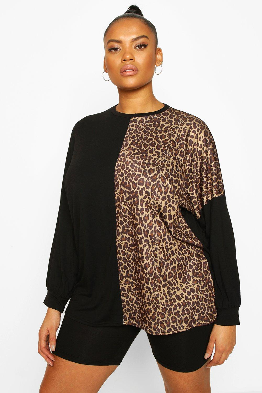 Womens Plus Colour Block Leopard Panel Longsleeve T-Shirt - Black - 22