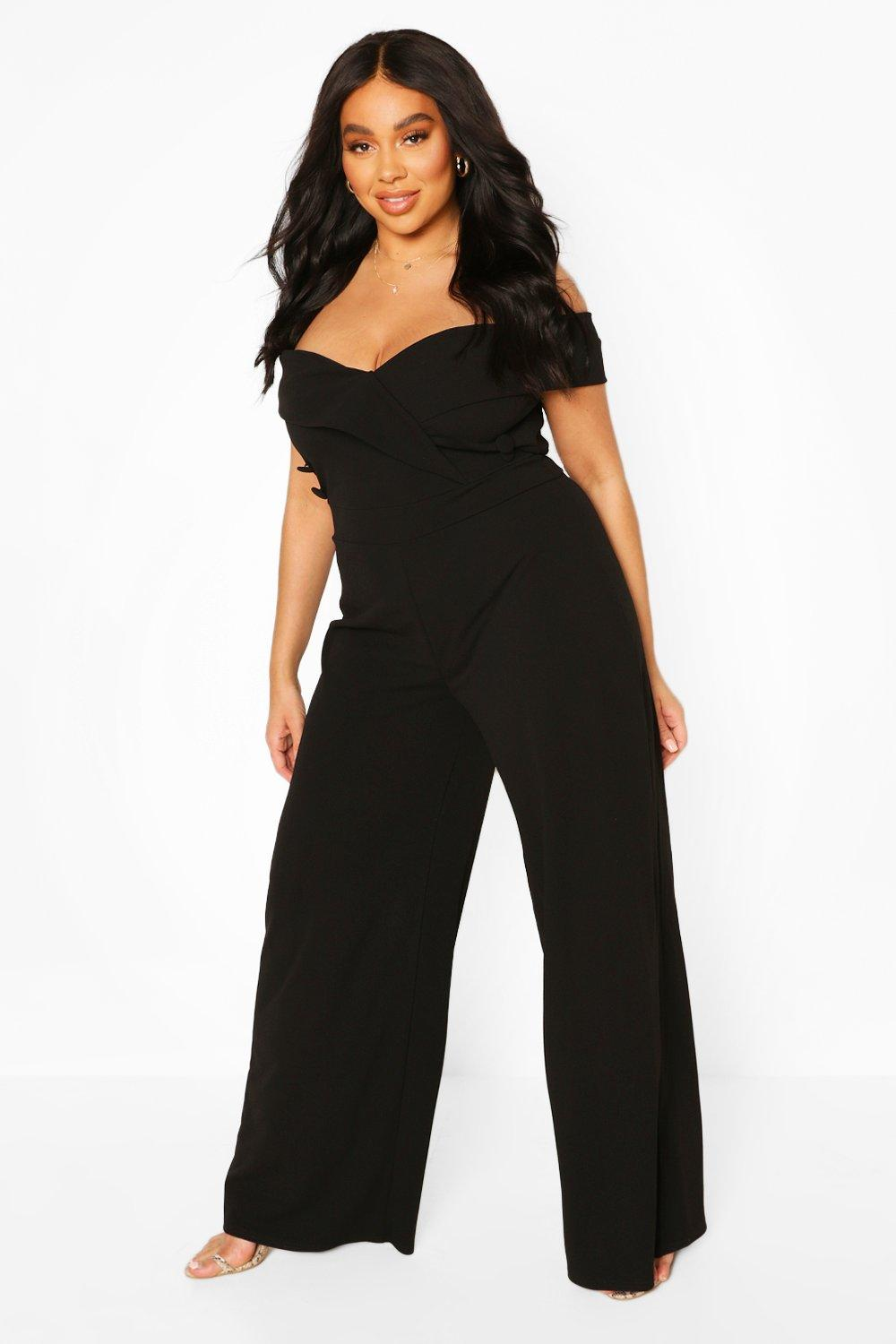 boohoo Womens Plus Bardot Button Detail Jumpsuit - Black - 20, Black