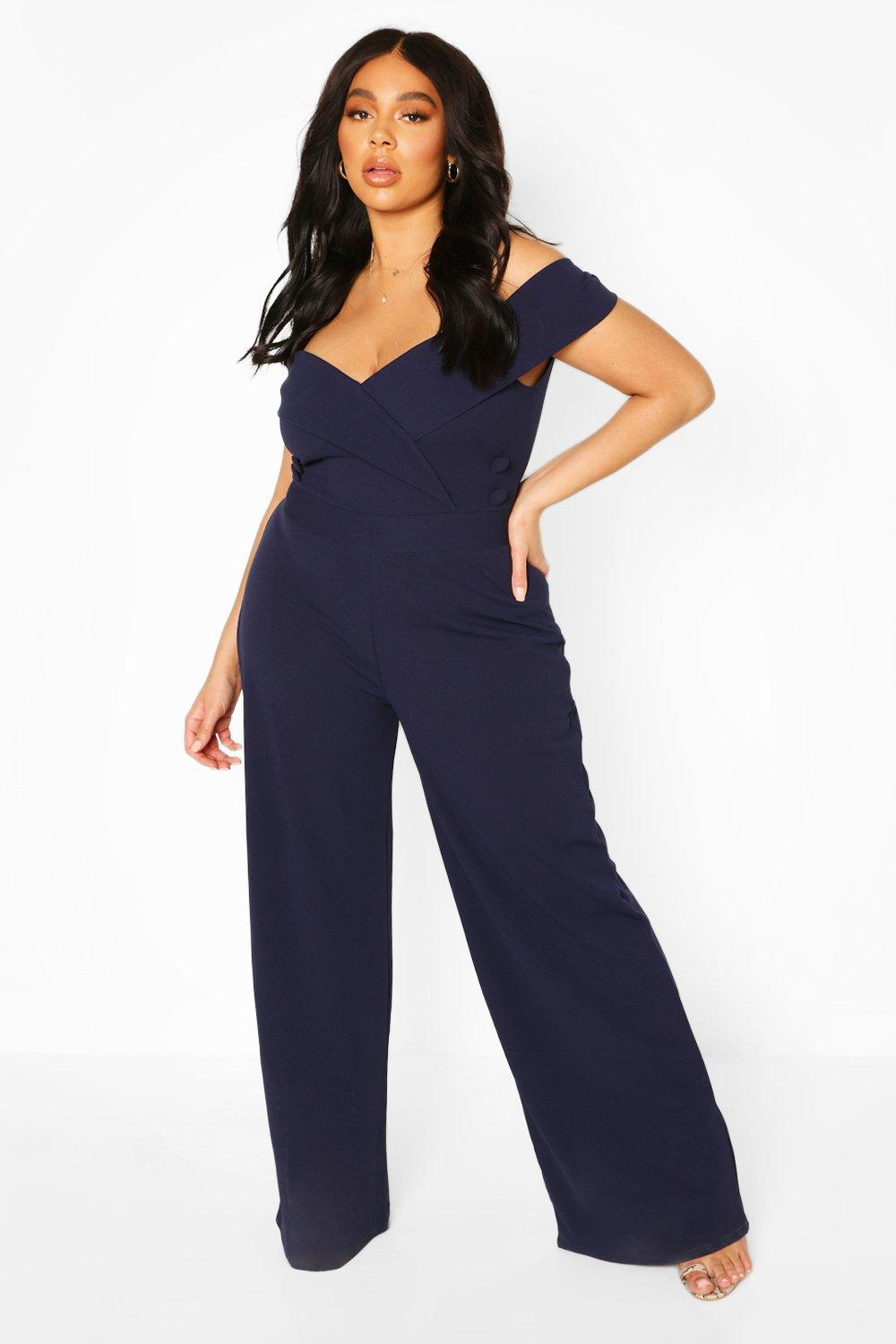 boohoo Womens Plus Bardot Button Detail Jumpsuit - Navy - 20, Navy