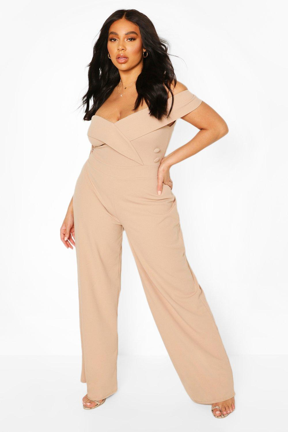 boohoo Womens Plus Bardot Button Detail Jumpsuit - Beige - 20, Beige