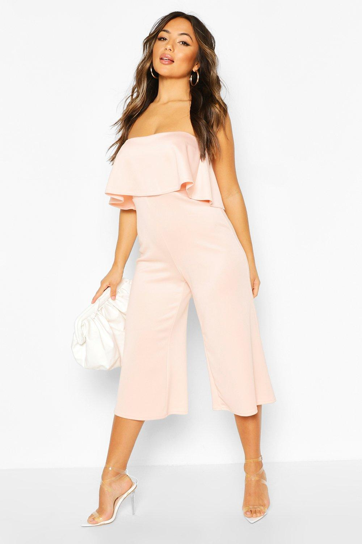 boohoo Womens Petite Bandeau Frill Culotte Jumpsuit - Pink - 6, Pink