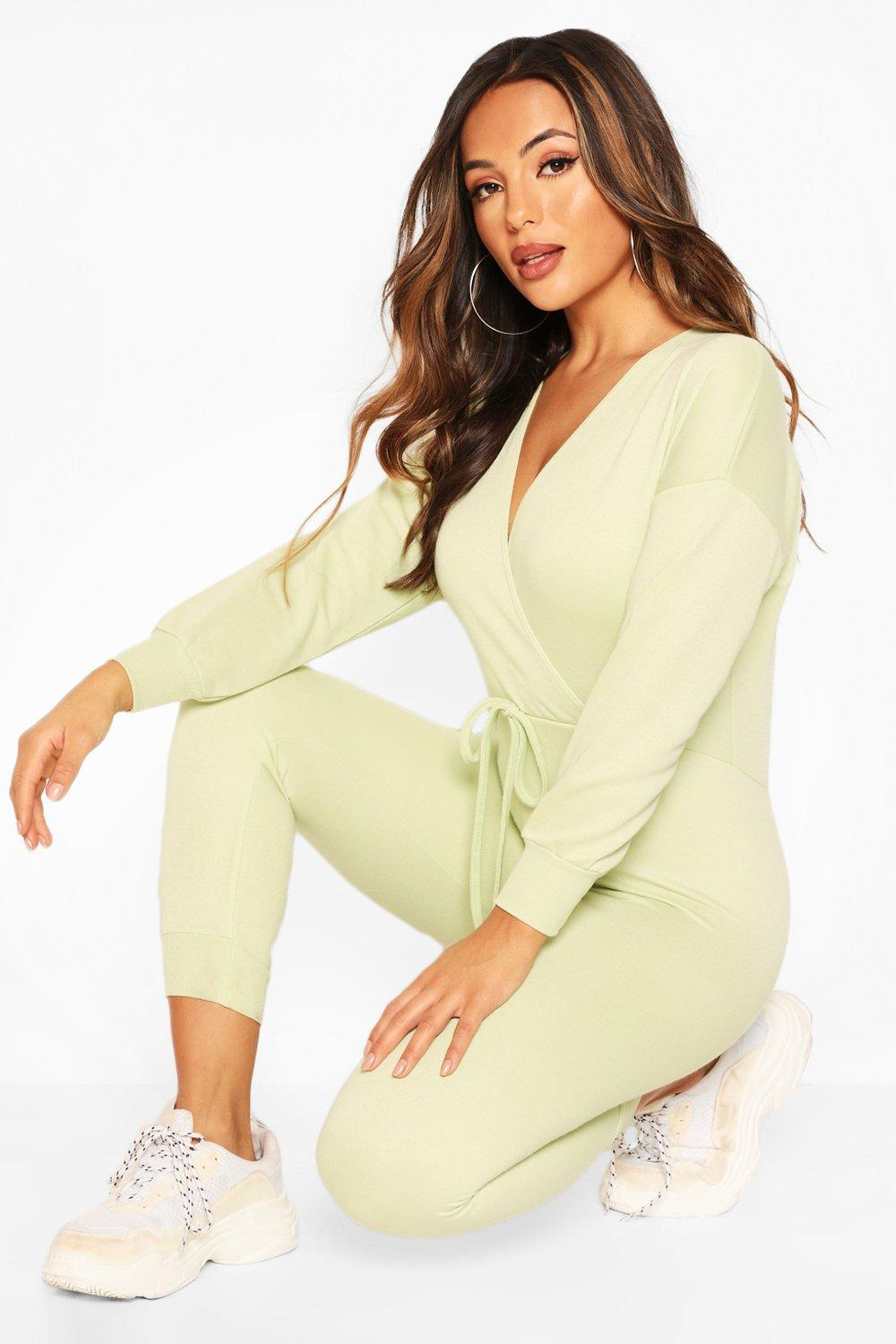 boohoo Womens Petite Wrap Over Sweat Jumpsuit - Green - 14, Green