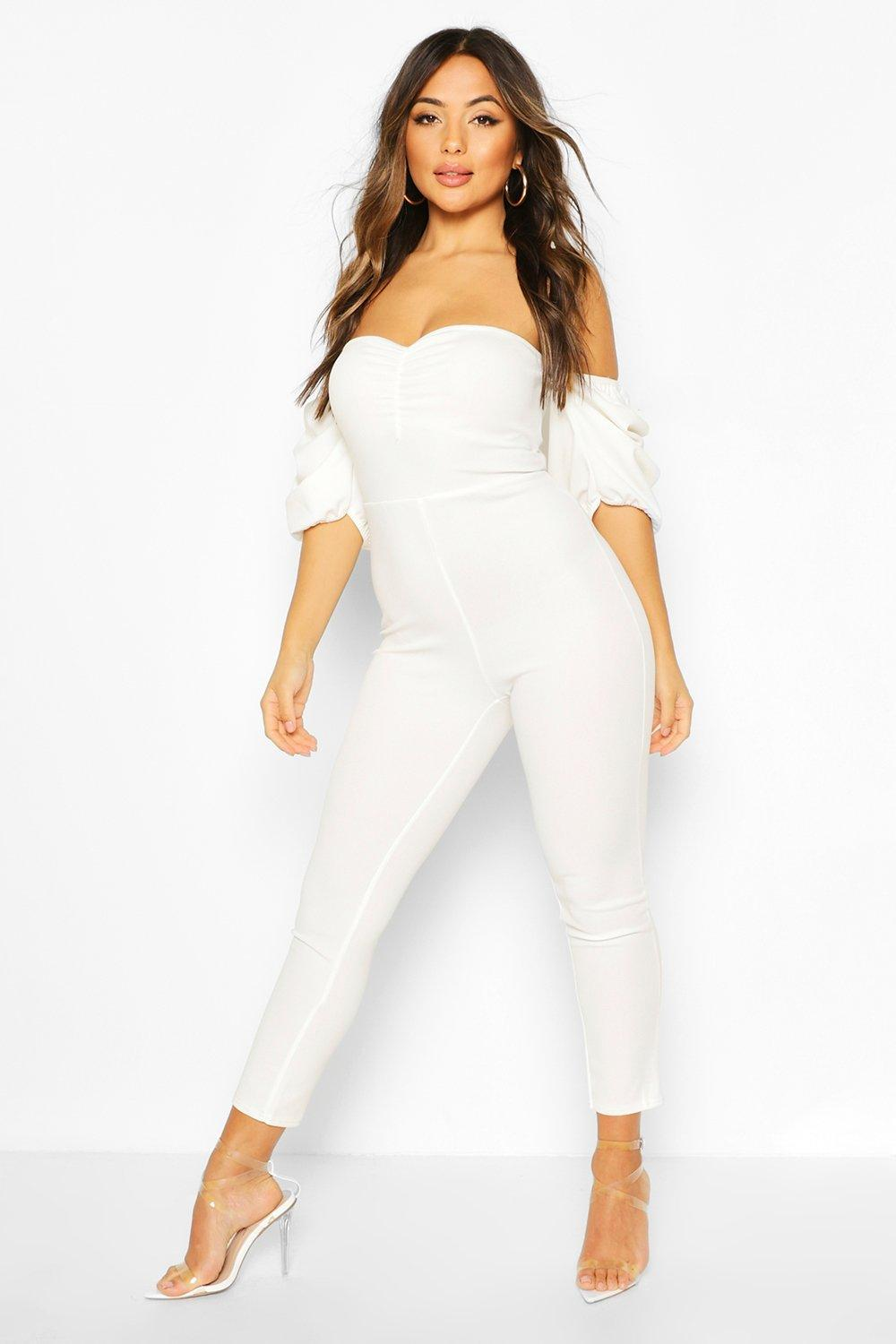boohoo Womens Petite Ruched Puff Sleeve Jumpsuit - White - 14, White