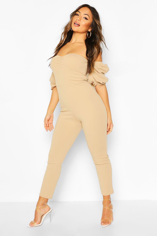 boohoo Womens Petite Ruched Puff Sleeve Jumpsuit - Beige - 14, Beige