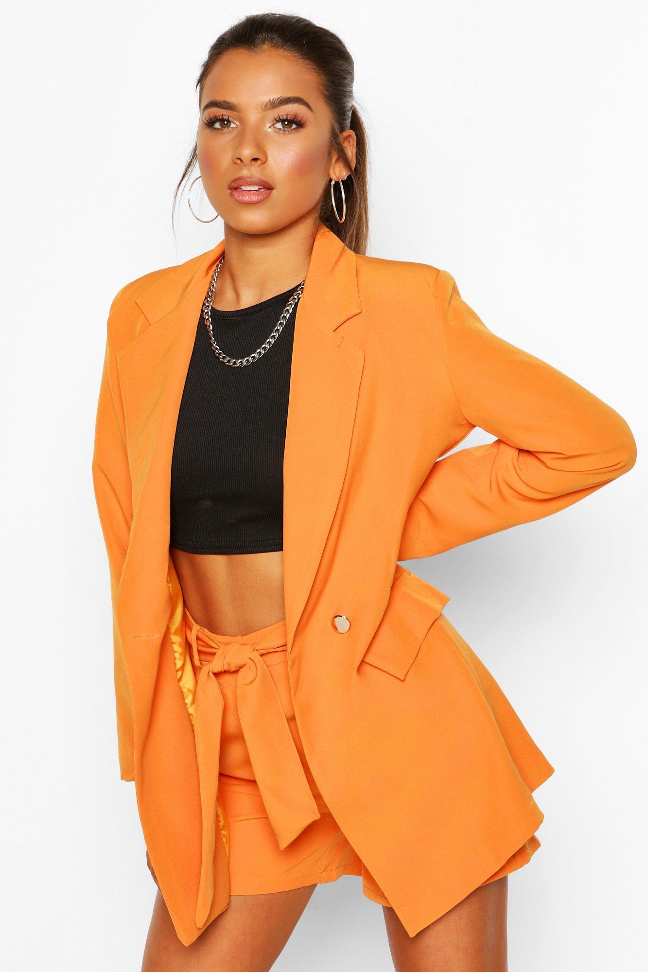 boohoo Womens Petite Belt Detail Double Breasted Blazer - Orange - 12, Orange