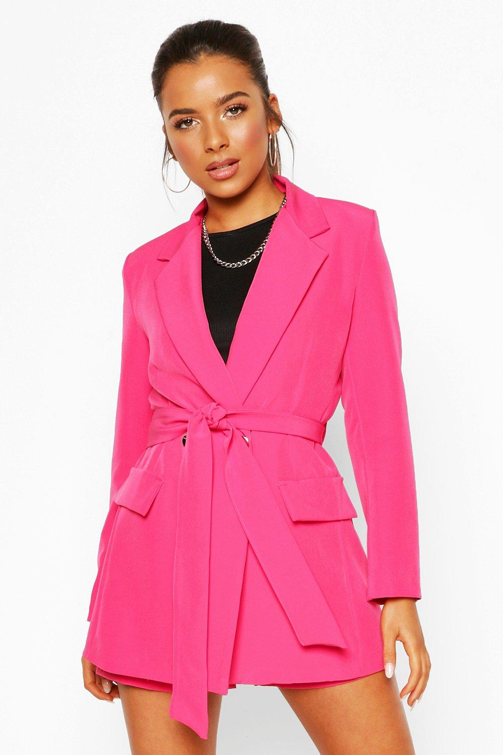 boohoo Womens Petite Belt Detail Double Breasted Blazer - Pink - 12, Pink