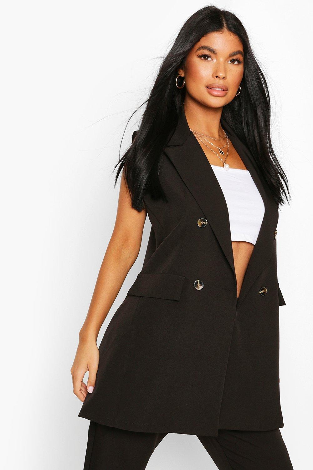 boohoo Womens Petite Double Breasted Sleeveless Blazer - Black - 4, Black