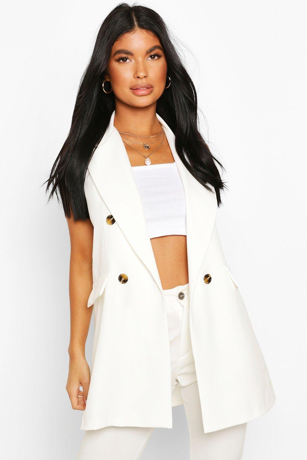 boohoo Womens Petite Double Breasted Sleeveless Blazer - White - 14, White
