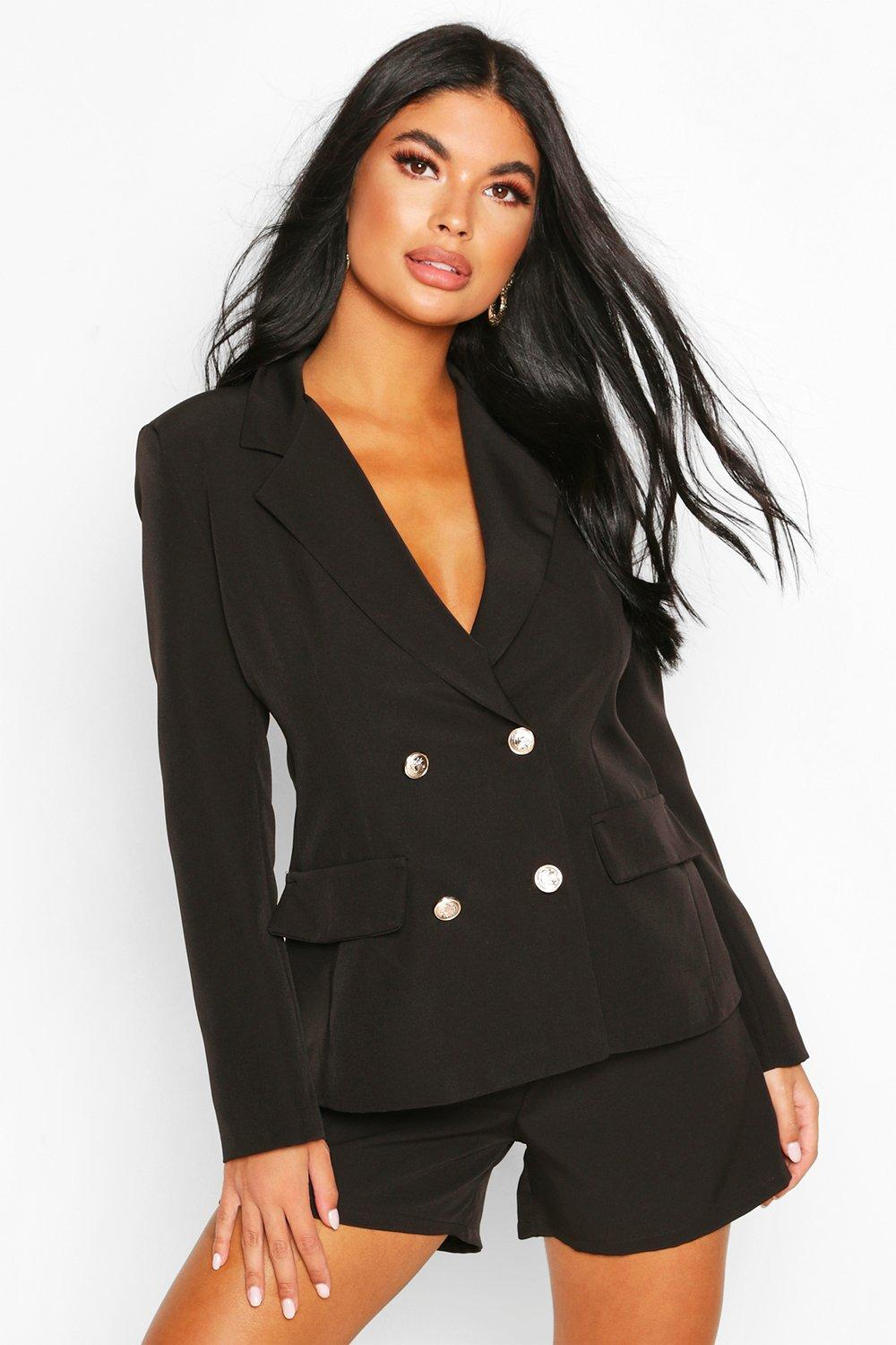 boohoo Womens Petite Double Breasted Blazer - Black - 8, Black